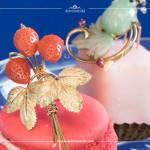Brosche mit Erdbeeren, Koralle, 14K Gelbgold