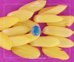 Wunderschöner Ring eines Sets, Opaldubletten, Brillanten, ~ 2,1ct. 14K Weißgold