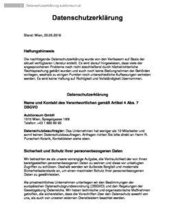 Datenschutzhinweis - Datenschuterklärung Auktioneum Website